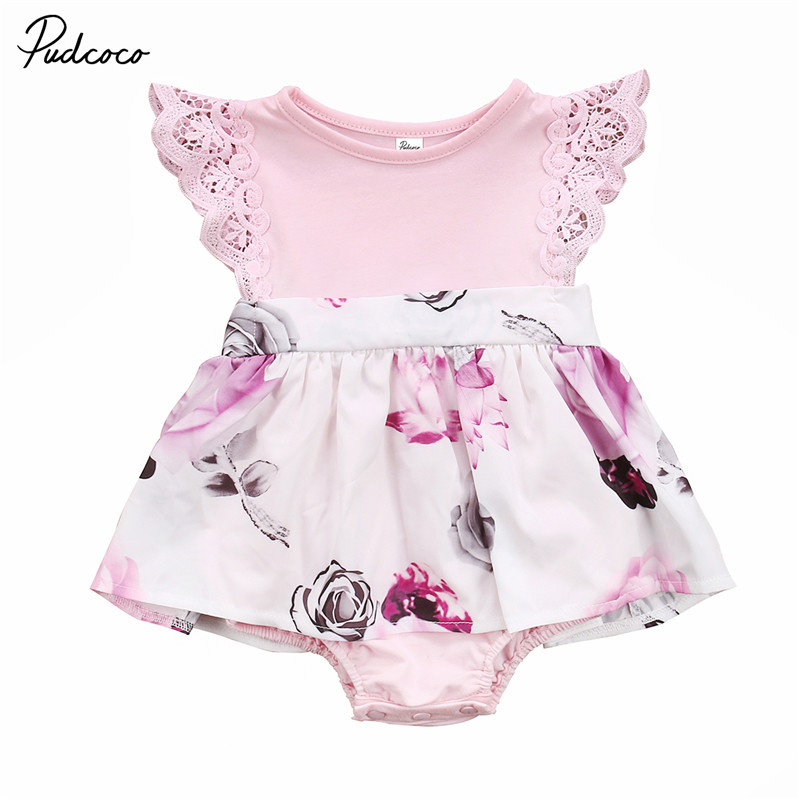Lovely Girls Floral   Rompers   Lace Flying Sleeve Summer Casual Jumpsuit Playsuit Lace Floral Cute Newborn Baby Clothes