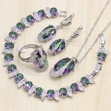цена на Mystic Rainbow Fire Cubic Zirconia Jewelry Sets Silver 925 Jewelry Decorations for women Earrings/Pendant/Necklace/Ring/Bracelet