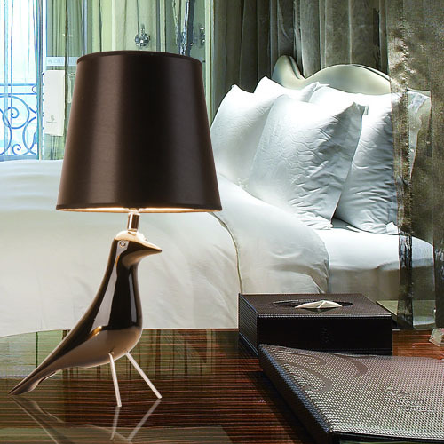Modern Resin Bird Bedsides Desk lights  Fabric Lampshade Kid's Bedroom Table Lights Living Room Creative Table Lighting Fixtures small size modern bedroom bedsides crystal table lights chrome base square crystal tiny size study room desk lighting fixtures