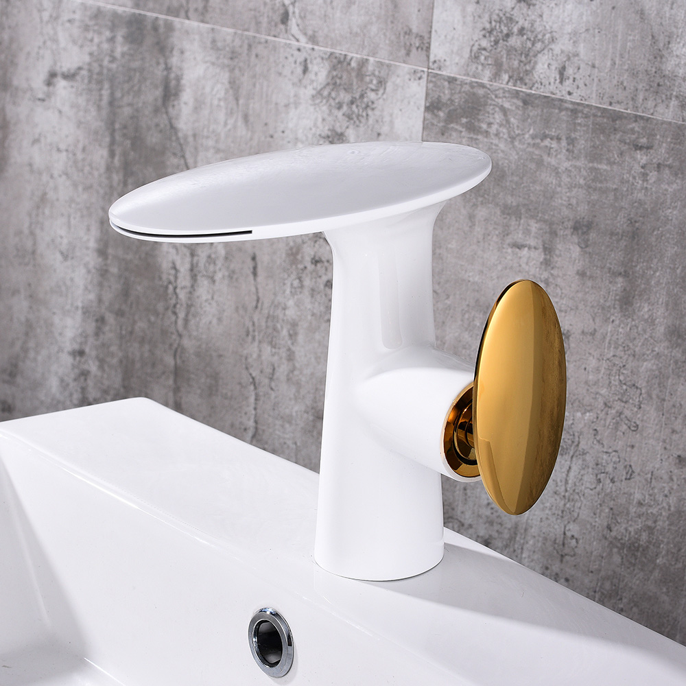 New Golden & white Tall Waterfall Faucet Bathroom Faucet Bathroom Basin Mixer Tap with Hot and Cold Water Tap Free shipping