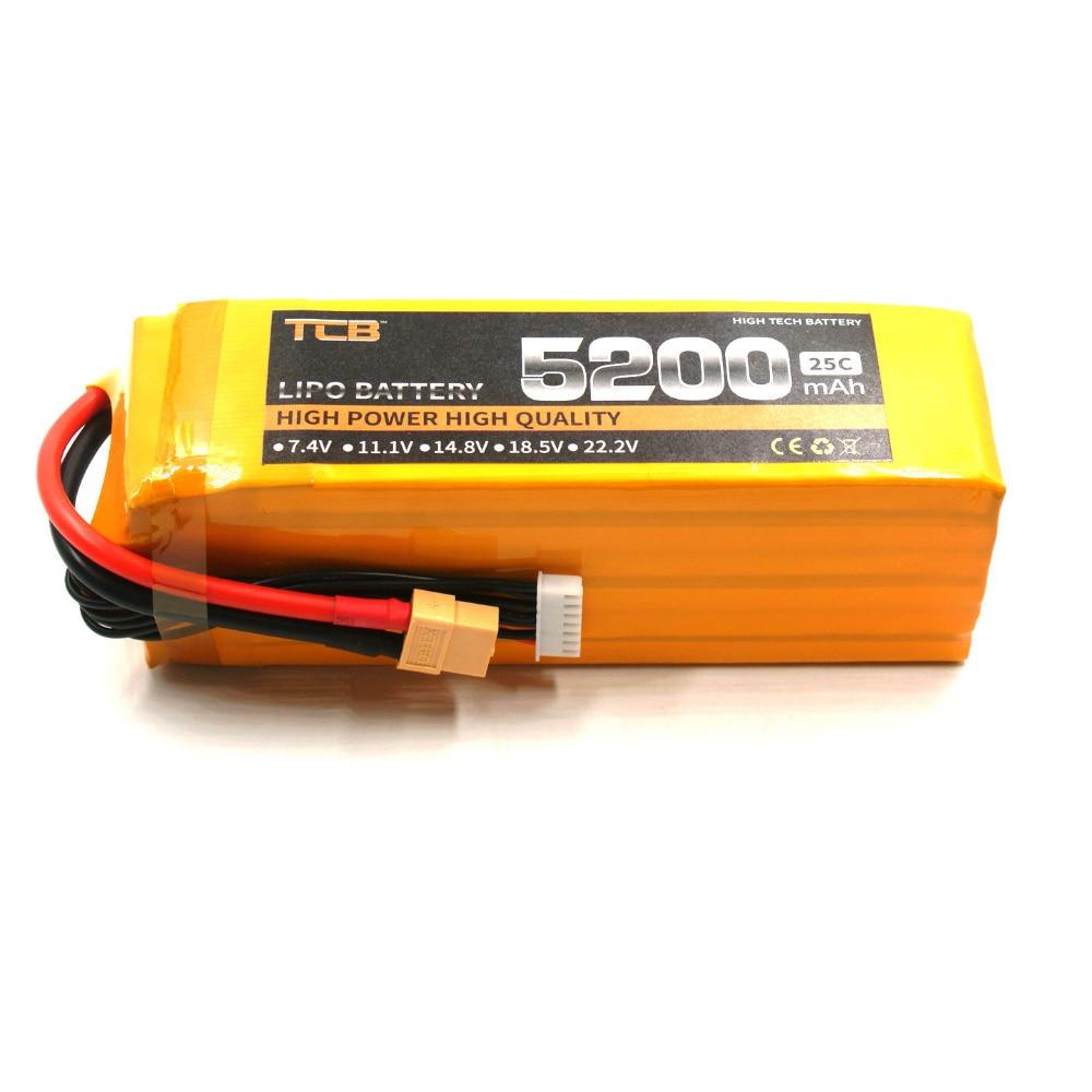 TCB RC Airplane lipo battery 22.2v 5200mAh 25C 6S Li-Po batteria for RC drone car boat free shipping tcb rc lipo battery 22 2v 2200mah 25c 6s rc airplane batteria rechargeable akku drone car free shipping