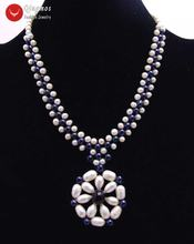 Qingmos натуральное жемчужное ожерелье для женщин с ручной работы