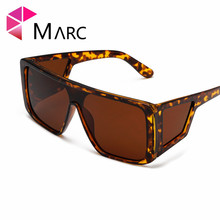 MARC Trendy sunglasses Eyewear personality Leopard Brand Yellow Mirror shield Ocean Square fashion Oversized Silver