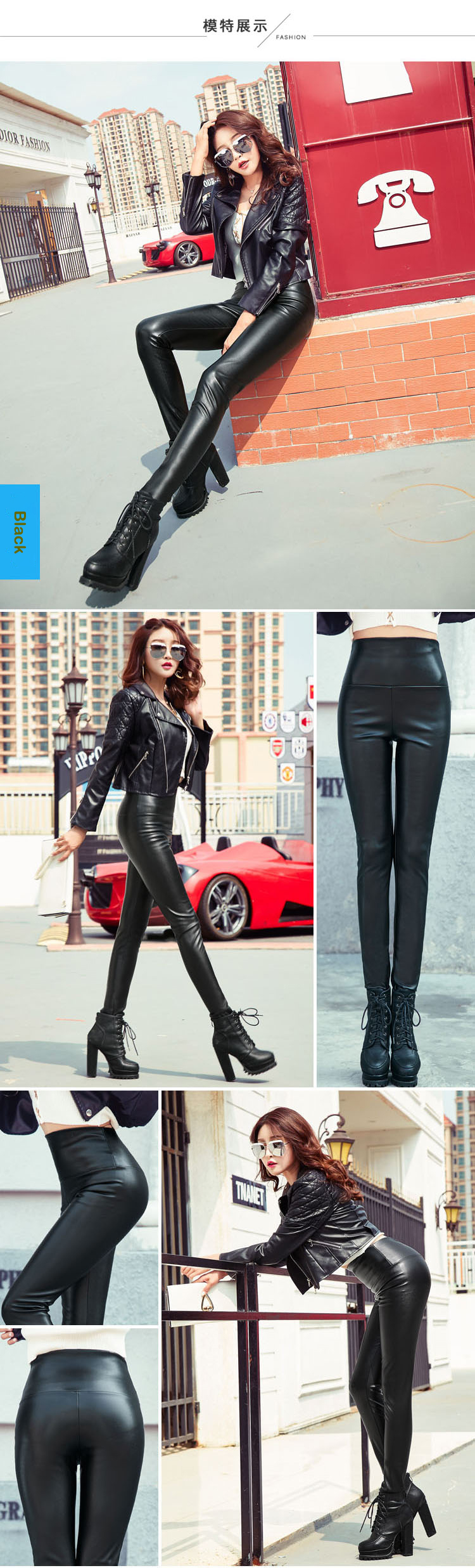 Autumn Winter Women Thin Velvet PU Leather Pants Female Sexy Elastic Stretch Faux Leather Skinny Pencil Pant Women Tight Trouser 33