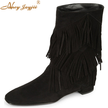 Nancyjayjii Black&Khaki Suede Winter Snow Tassel Mid -Calf Comfortable Walking Low Heels Dress Boots Woman,Plus Size 4-16.