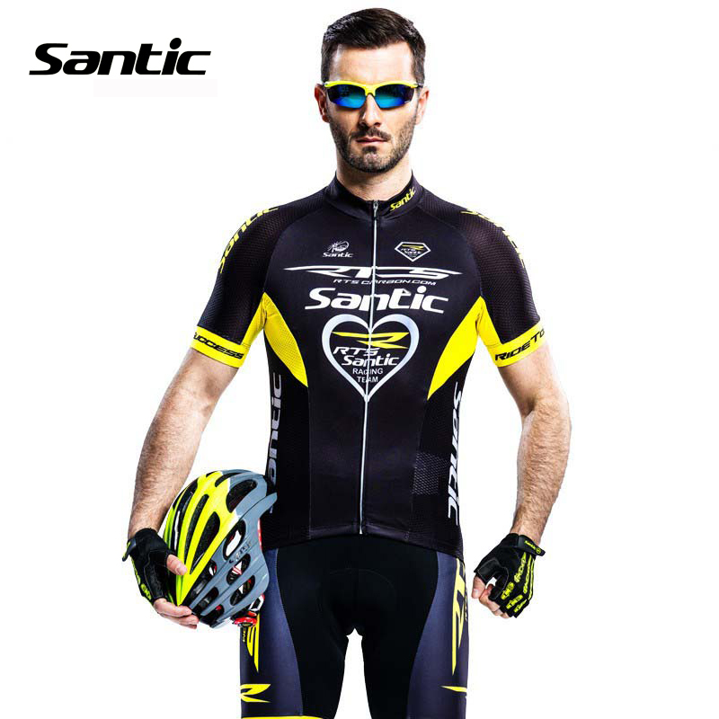 Santic Pro Cycling Jersey UPF40+ Quick Dry Short Sleeve Downhill MTB Bike Jersey Cycle Set Kit + 4D Pad Shorts Ropa Ciclismo santic women cycling jersey summer short sleeve mtb downhill jersey breathable mountain bike bicycle jersey ropa ciclismo