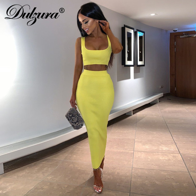 Dulzura neon ribbed knitted women two piece matching co ord set crop top midi skirt sexy festival party 2019 winter clothing 2
