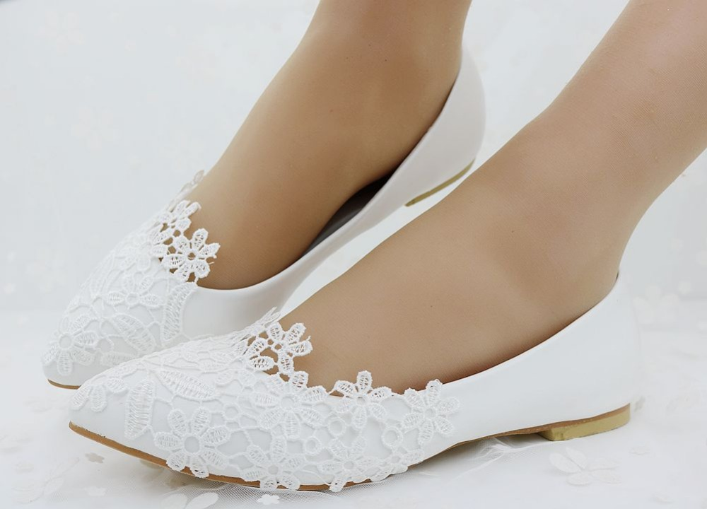Fashion Ballet Flats White Lace Wedding Shoes Flat Heel Casual Pointed Toe Women Princess Plus Size 41 In S From