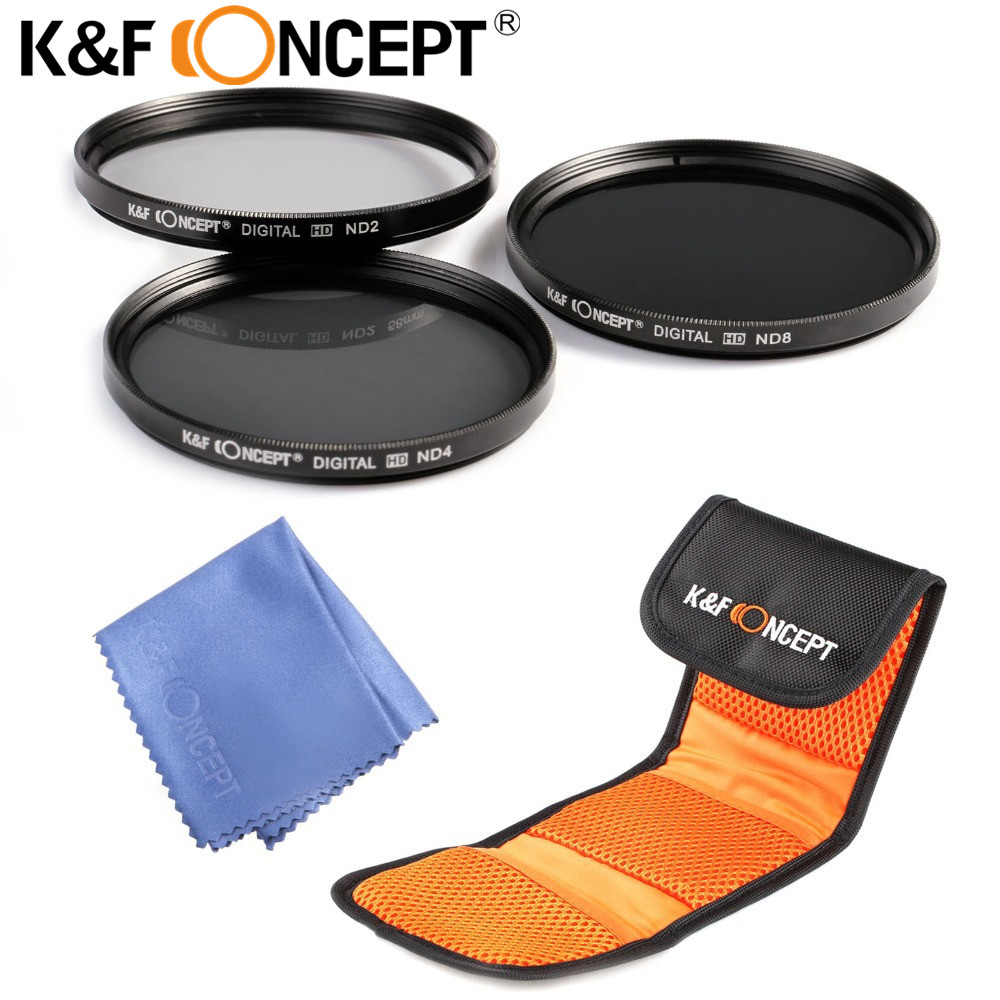 K&F CONCEPT ND2 ND4 ND8 ND Filter Kit 49/52/55/58/62/67/72/77mm With Filer Pouch For Canon,Sony,Tamron,Sigma,Nikon D70 D90 D7100