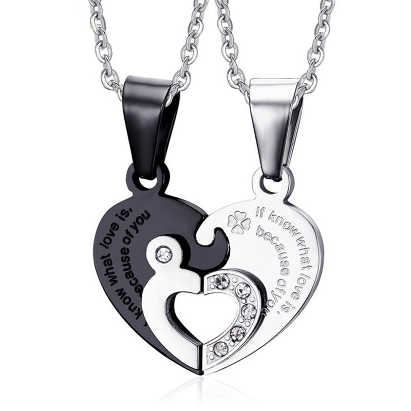 Romantic Couples Heart Key Crystal Necklaces Jewelries Her & His Love Forever Pendant Set Valentine Stainless Steel Necklaces