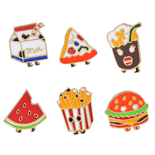 Cartoon French Fries Burger Brooch Pizza Watermelon Cola Milk Denim Backpack Pin Cute Gift