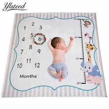 Ylsteed Baby Milestone Blanket Newborn Photo Props Height Chart Animal Printed Soft Baby Blanket Newborn Shooting Background