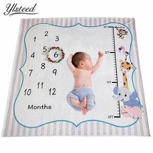 Image 1 - Ylsteed Baby Milestone Decke Neugeborenen Foto Requisiten Höhe Diagramm Tier Gedruckt Weiche Baby Decke Neugeborenen Schießen Hintergrund