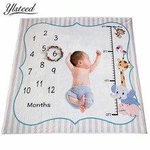 Ylsteed 아기 마일스톤 담요 신생아 사진 소품 높이 차트 동물 인쇄 부드러운 아기 담요 신생아 촬영 배경