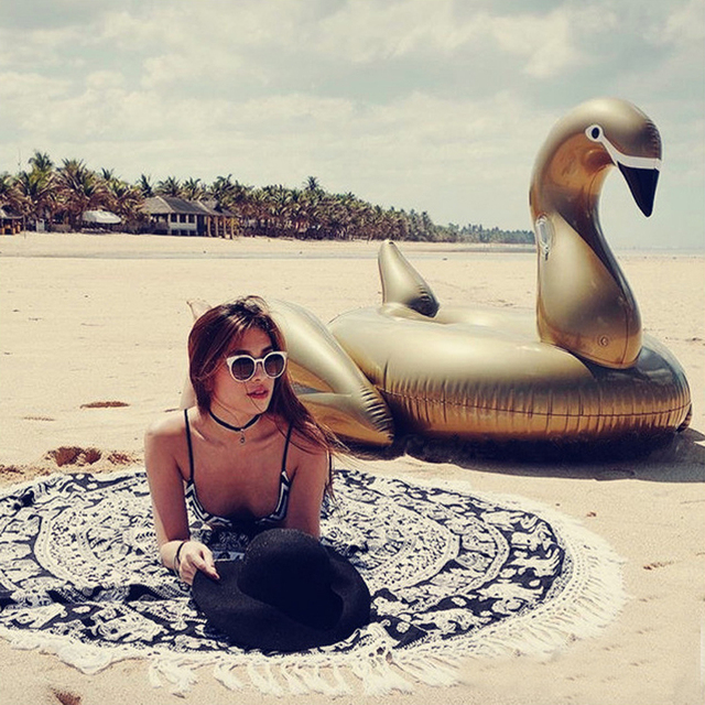 150cm Giant Gold Swan Float Inflatable Flamingo Ride-On Pool Floating Lounge For Adults Water Mattress Pool Toys Swimming Ring