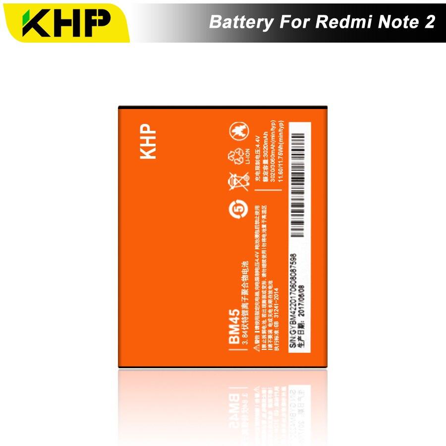 2017 NOVO 100% BM45 KHP Original Bateria Do Telefone Para Xiaomi Hongmi RedMi Nota 2 Bateria Real 3060 mAh Móvel Substituição bateria