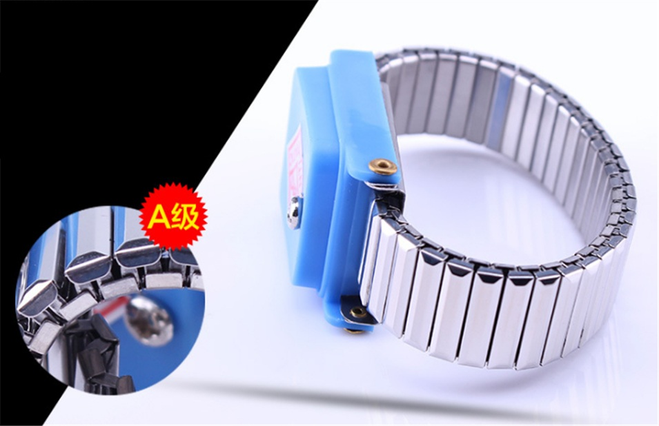 Antistatic Wristband Esd Wrist Strap Blue Metal Discharge For Electrician Ic Plcc Worker Antistatic Bracelet Free Shipping