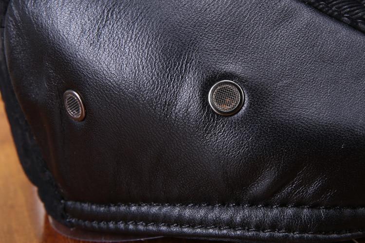 mens winter sheepskin leather baseball caps (21)