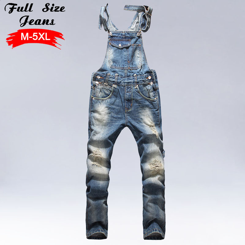 Men'S Plus Size Jeans Overalls Large Size Huge Denim Bib Pants Fashion Pocket Jumpsuits Male 4Xl 5Xl 3Xl plus size pants the spring new jeans pants suspenders ladies denim trousers elastic braces bib overalls for women dungarees