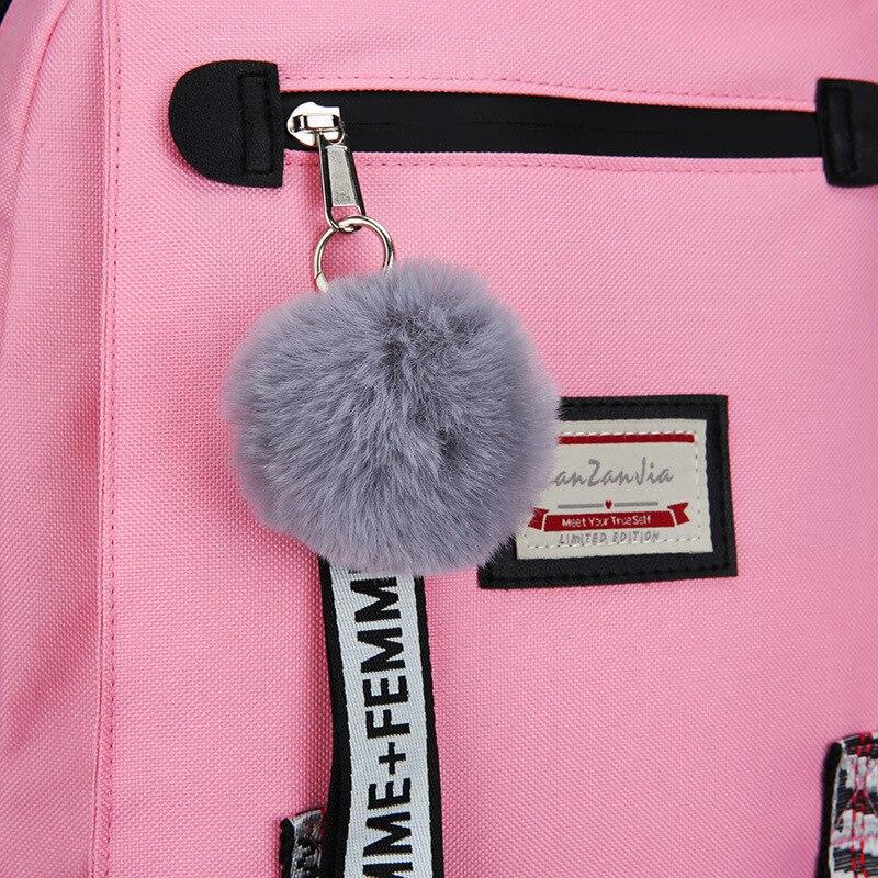 HTB1aXD.NjDpK1RjSZFrq6y78VXaX Pink Canvas Backpack Women School Bags for Teenage Girls Preppy Style Large Capacity USB Back Pack Rucksack Youth Bagpack 2019
