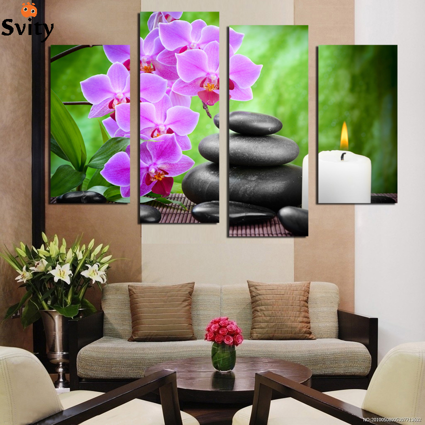 Hot Sell 4 piece canvas wall art Modern nature green Wall Painting flower Home Art Picture Paint on Canvas Prints decor F1781
