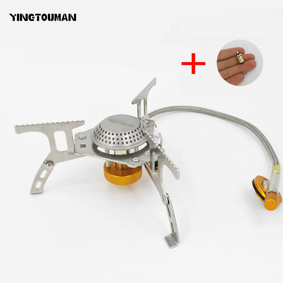 YINGTOUMAN 3000W Outdoor Gas Stove Mini Camping Stove Burner Cooking Picnic Portable Foldable Furnace Lightweight Split Burner portable outdoor picnic gas burner foldable camping mini steel stove case new 9282