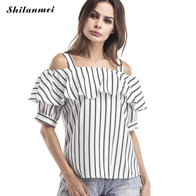 Womens Off Shoulder Tops Sexy Blouses Fashion 2017 Summer White Blue  Striped Short Sleeve Ruffles Halter