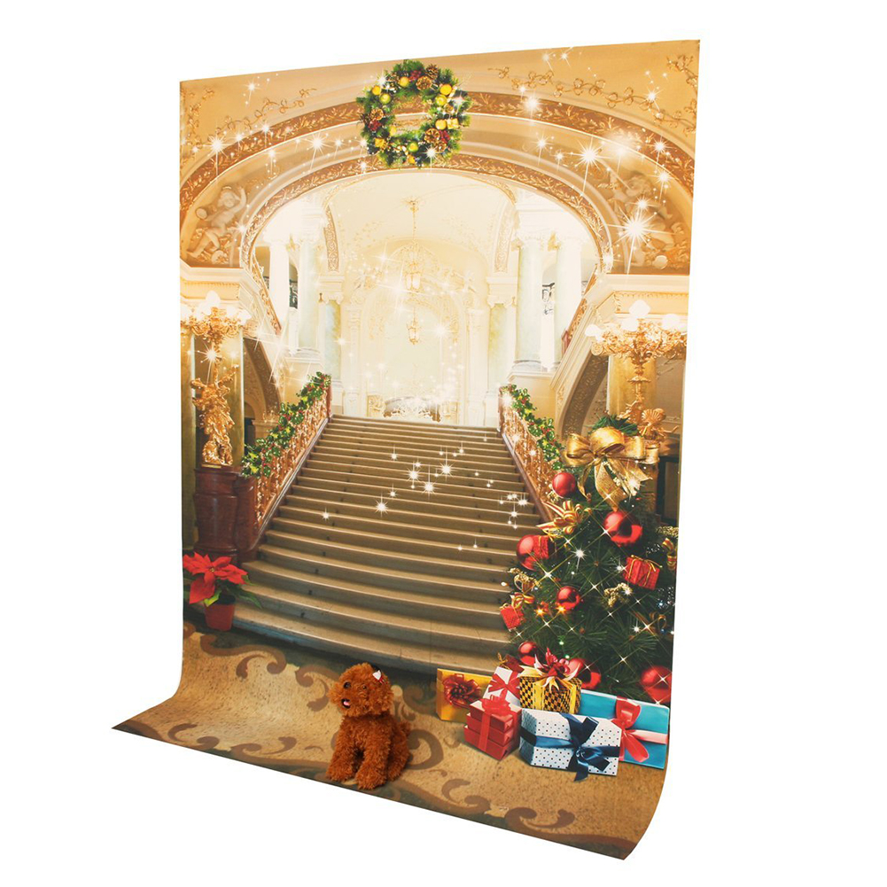 7X5ft Photo Backdrops Theme Photography Background Props For Studio: Christmas Stairs shengyongbao 300cm 200cm vinyl custom photography backdrops brick wall theme photo studio props photography background brw 12