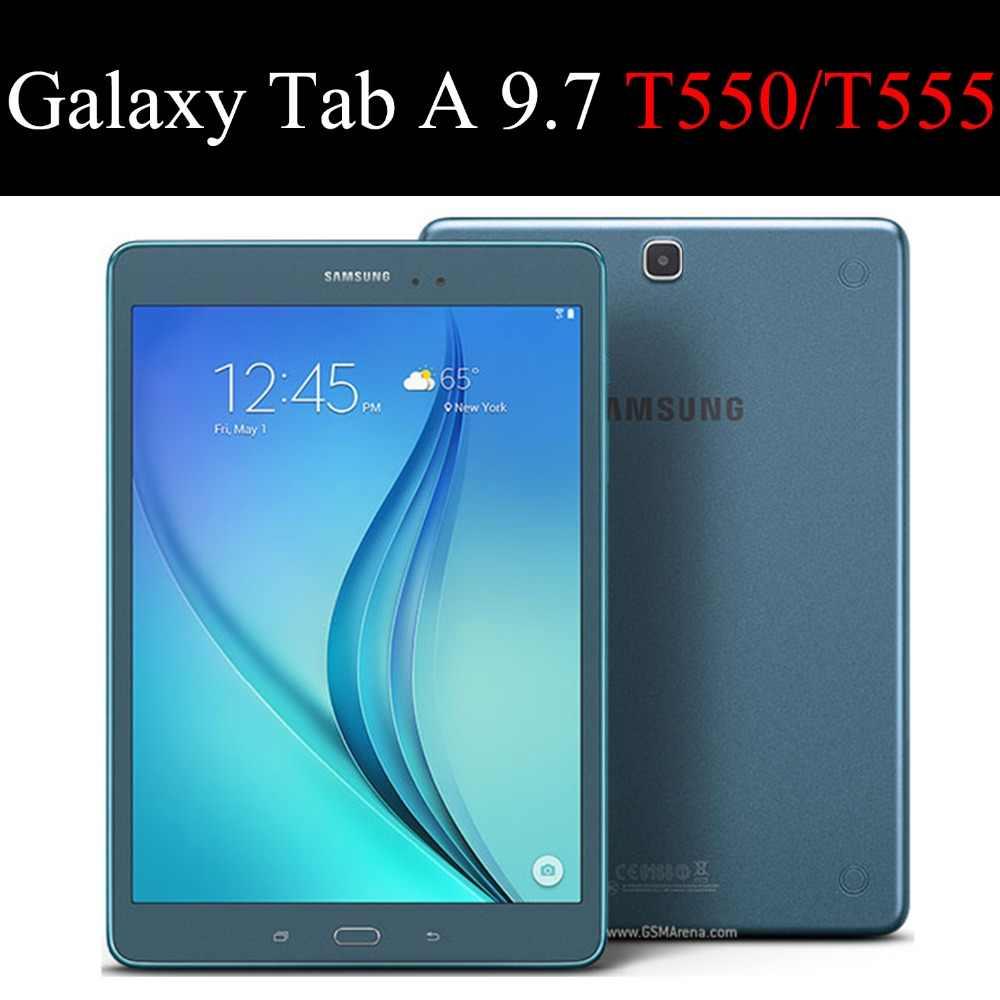 Voor Samsung Galaxy Tab EEN 9.7 inch T550 T555 P550 Tablet case Beugel Flip Satnd Siliconen Cover Voor SM-T550 SM-T555 SM-P550 shell