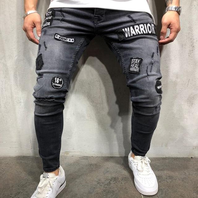 NEW 2019 fashion men's hole embroidery jeans Hip-hop slim men jeans