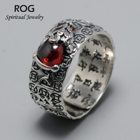Guaranteed 925 Sterling Silver Mantra Rings Vintage Coins Engraved With Pixiu Natural Red Garnet Stone Resizable