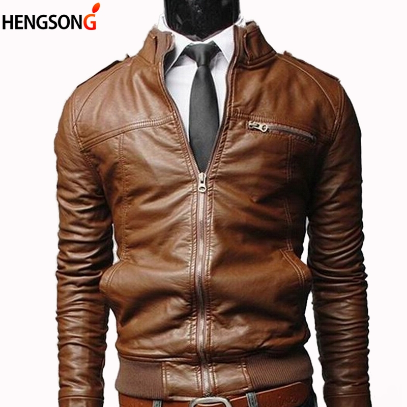 Jacket Motorcycle Coat Stand-Collar New Male Slim Black Zipper Casual with Men Jaqueta title=