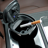Solar Powered Lighting Detachable Car Cigarette Ashtray Smokeless With Blue LED Light Indicator For Most Car