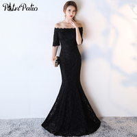 PotN Patio Black Mermaid Prom Dresses 2017 New Elegant Off The Shoulder Half Sleeves Lace Prom