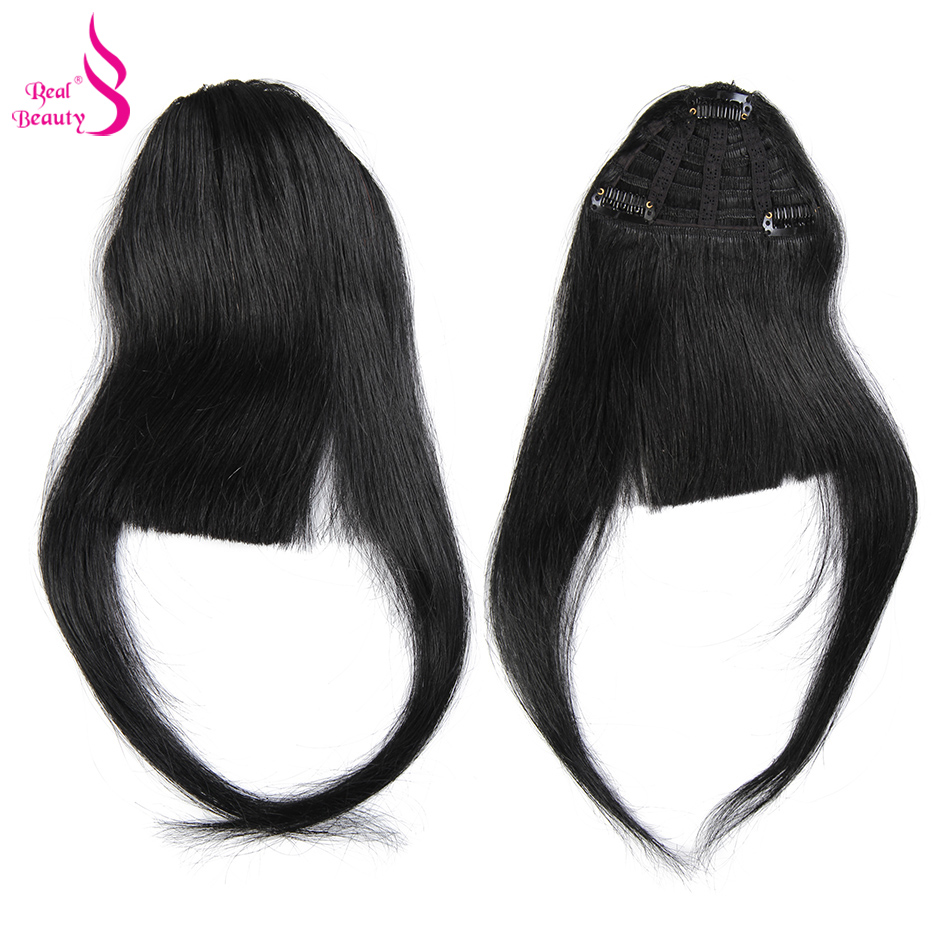 Hairpiece Bangs Human-Hair Clip-On Neat-Fringe Real-Beauty Brazilian with Temple Hand-Tied