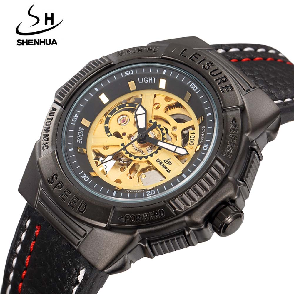 SHENHUA Luxury Men's Watches Fashion Sports Men Leather Band Automatic Mechanical Watches Skeleton Wrist Watch relogio masculino стоимость