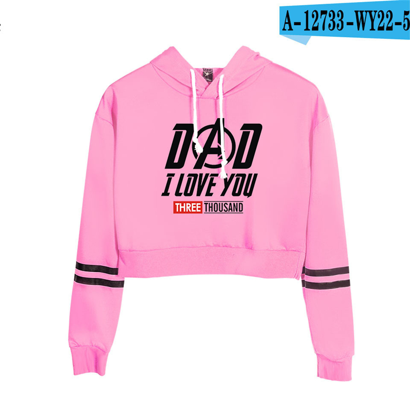 Dad I Love You 3000 Time Printed Hoodie Harajuku Women Streetwear High Waist Cropped Hoodie Pink Sweatshirt Womens Clothing Kpop