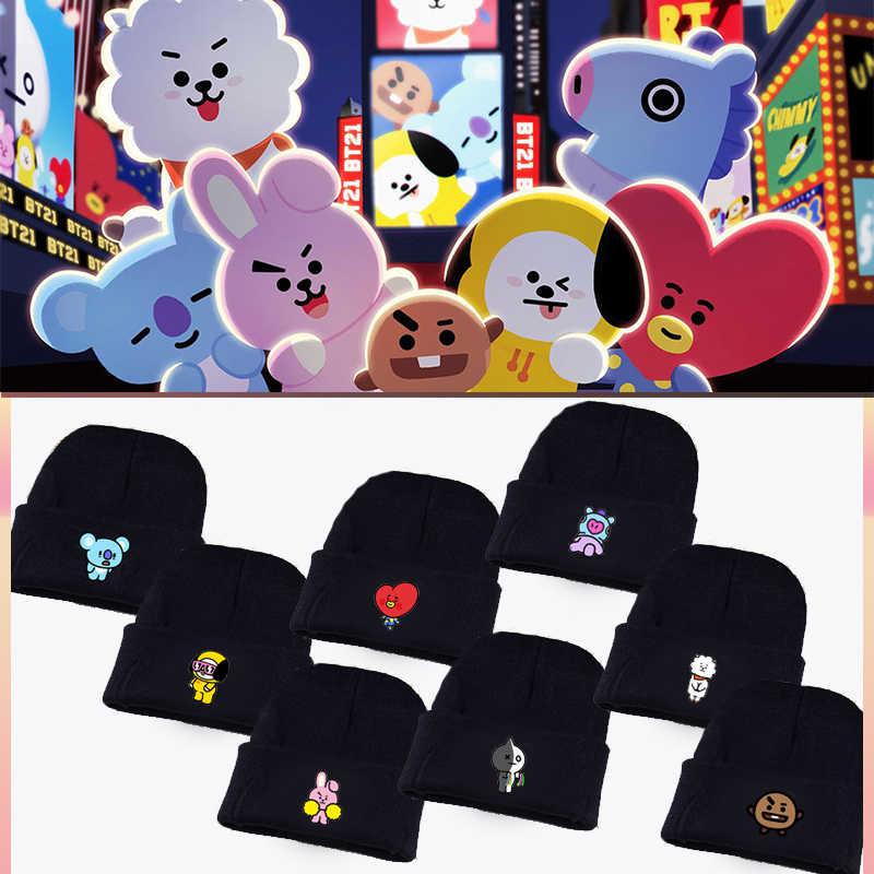 Kpop Bangtan Boys Army Bts Bt21 Fans Club Beanie Hip Hop Cartoon Cute Printed K