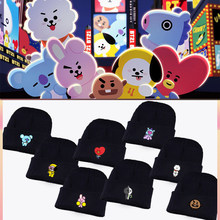 fce2fcd33a4146 Kpop Bangtan Boys ARMY BTS BT21 Fans Club Beanie Hip Hop Cartoon Cute  Printed K-pop Knitted Cap Unisex Cool Korean Style Hat