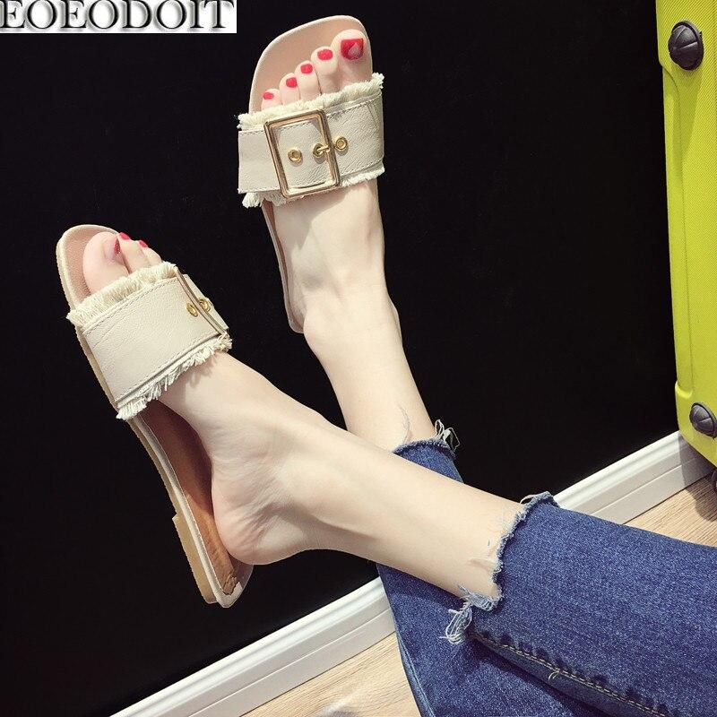 EOEODOIT Summer Slippers Open Toe Flat Heel Leather Outside Slides Sandals Shoes Women Beach Sand Shoes