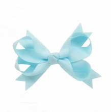 100pcs/lot    New Hair Bows Clips Ribbon Barrettes for Girls  Lt Blue