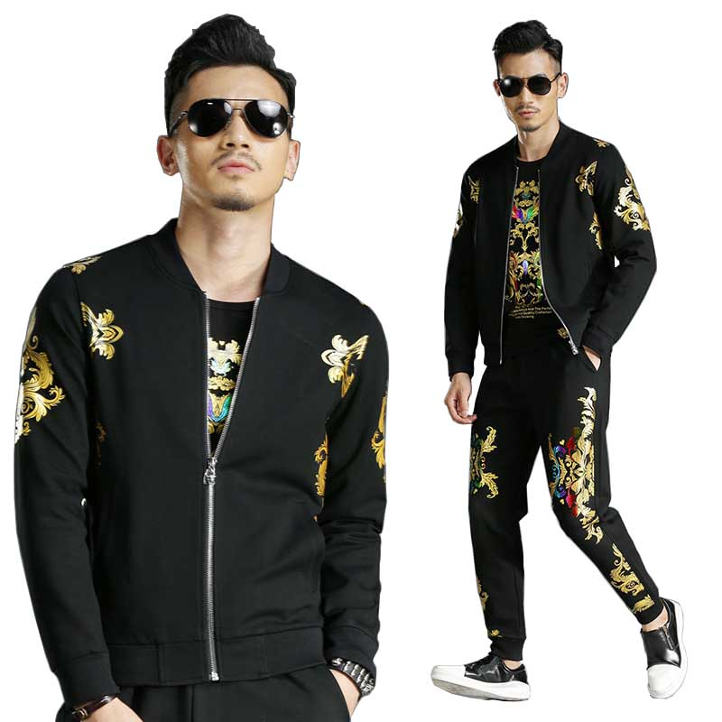 Spring Autumn Floral Printed Baseball Jacket 2PCS Sets With Joggers Pants Tracksuit Men Casual Slim Sweatshirt Trousers Suits