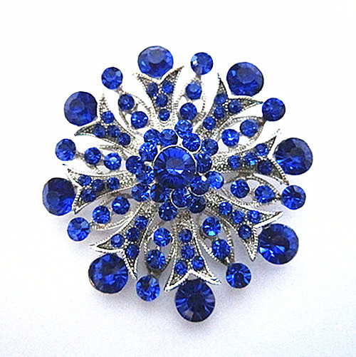Родиевое покрытие прозрачный горный хрусталь ювелирные изделия большая брошь-цветок с кристаллами для свадебного приглашения - Окраска металла: Blue
