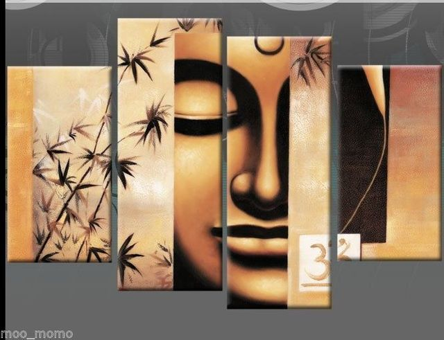 Extra Large 5ft wide Buddha Canvas Painting multi 4pc No Frames #3 ...