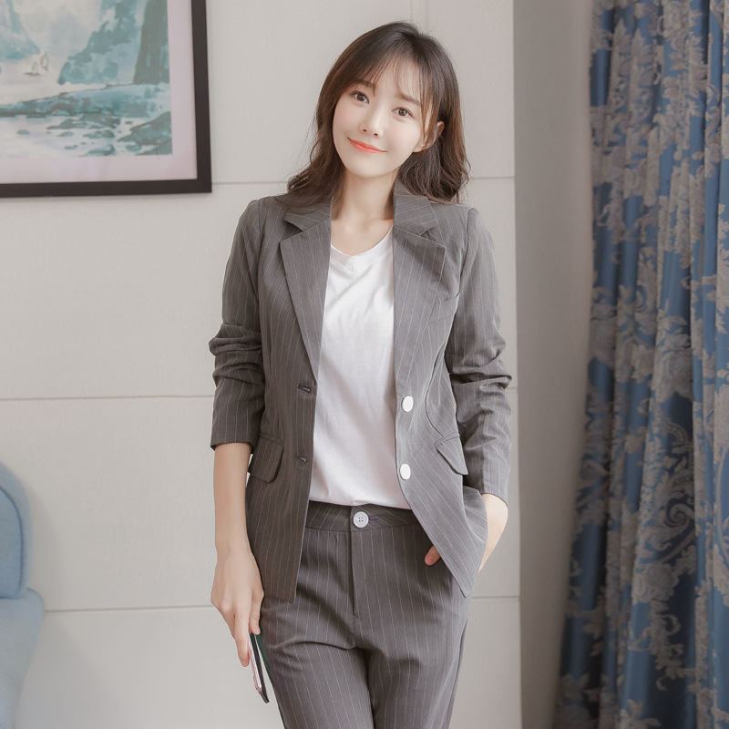 Ladies Blazer 2019 Autumn New Fashion Gray Striped Suit Jacket Female Fashion Slim Pants Casual Lady's Office Suit High Quality