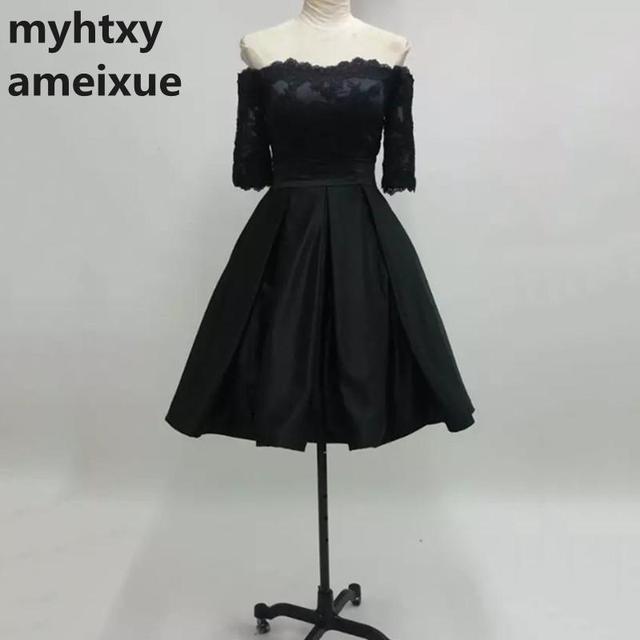 Robe noire satinee courte