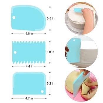 3 Pieces Cream Scraper Irregular Teeth Edge DIY Cake Decorating Fondant Pastry Cutters Baking Spatulas Tools 2