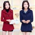 2015 новые женские зимние пальто шерсти тонкий двубортное пальто зимнее пальто нагрудные с пончо верхней одежды casaco feminino
