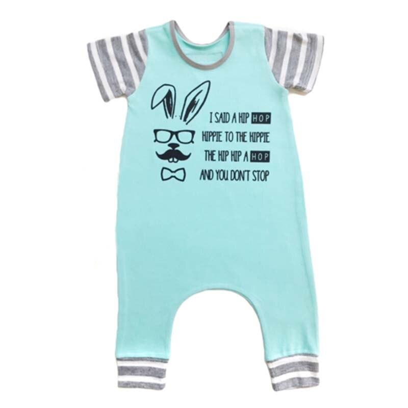 2018 лето для малышей Одежда для маленьких мальчиков и девочек из хлопка для новорожденных ползунки мультфильм кролик печати комбинезоны для...