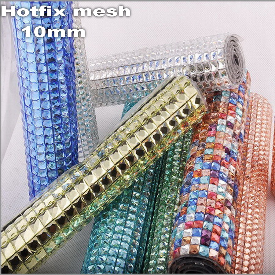 Shinning 10mm full Glass Rhinestones hotfix hot fix Iron On glue on applique Banding Mesh sheet Wedding Dresses shoes Decorative